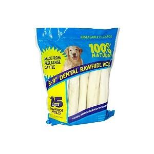 Rawhide Dental Rolls - 15 pk/ 3.7 lbs bag